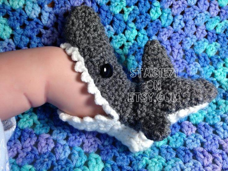 Crocheted Shark Slipper Socks - via @Craftsy