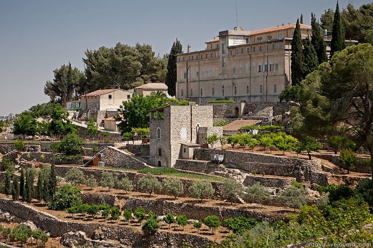 The Cremisan monastery is located on a high hill, five kilometers from Bethlehem.  It was built in 1885 on ruins of a 7th century Byzantine monastery