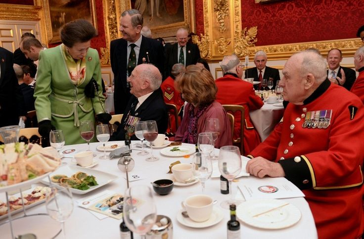 Princess Anne met with veterans at a Christmas dinner organized by the Not Forgotten Association at the St. James Palace in London.