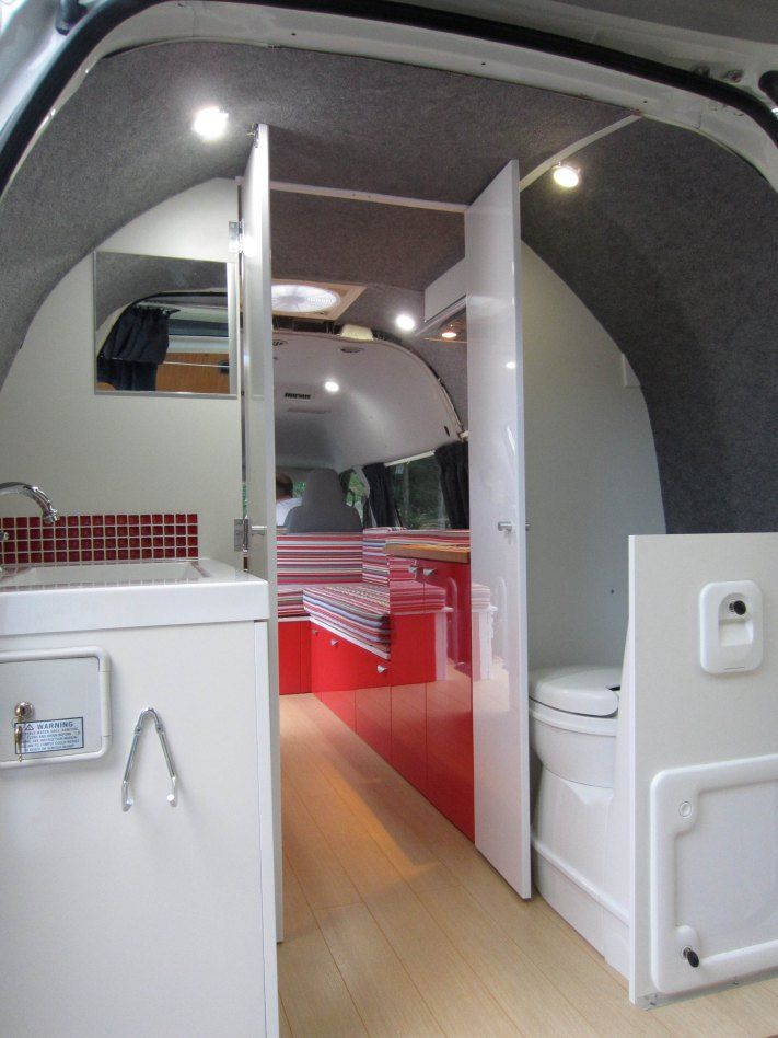 43 best images about camper van on pinterest buses campers and vehicles for Install bathroom in enclosed trailer