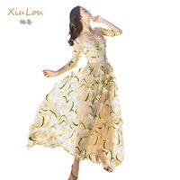 Взлетно-посадочной полосы maxi dress 2017 дизайн высокого качества цветы вышивка dress бежевый элегантный партия платья летние длинные платья для свадьбы