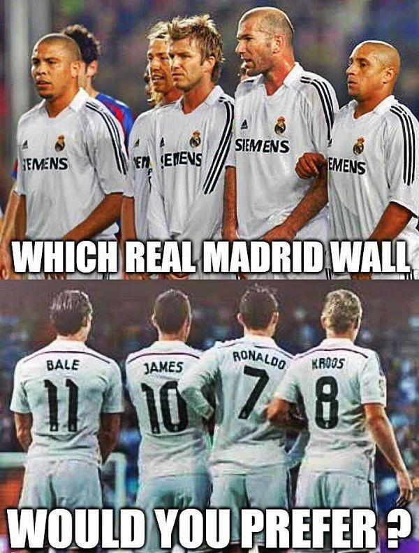 Zidane, Beckham, Ronaldo, Carlos, Guti czy Bale, Ronaldo, James, Kroos? • Który mur Realu Madryt jest lepszy? • Wejdź i zobacz >>