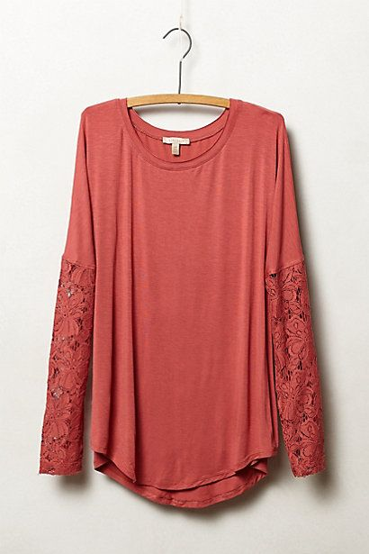 Lace-Sleeved Scoopneck #anthropologie