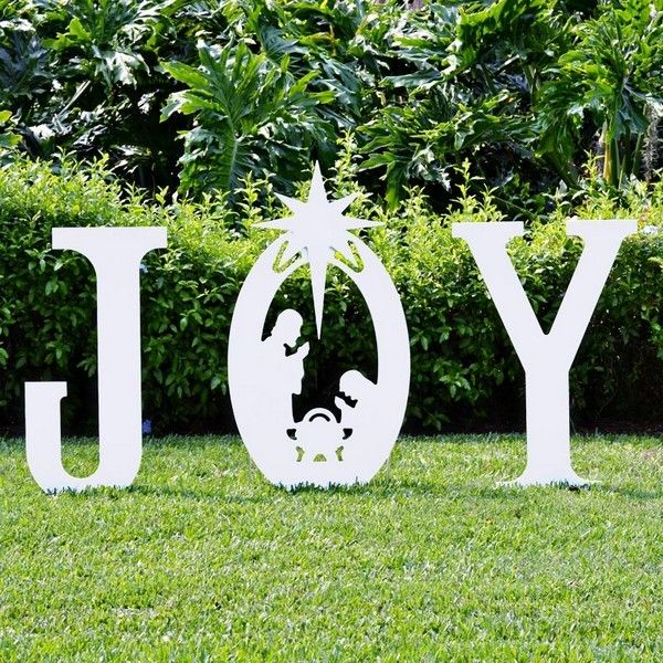 teak isle christmas joy nativity yard sign christmas joy yard sign with holy family each large letter measures tall x wide tall to top of star composed