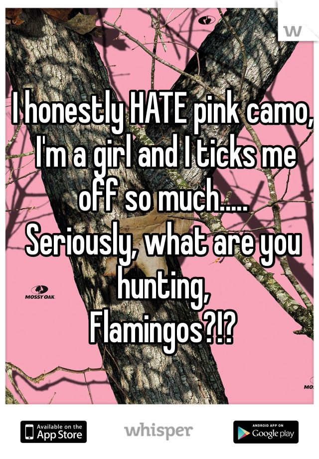 I honestly HATE pink camo,   I'm a girl and I ticks me off so much.....   Seriously, what are you hunting,   Flamingos?!?