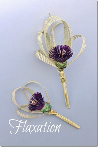 Single flower Thistle bouquets made entirely from flax. www.flaxation.co.nz