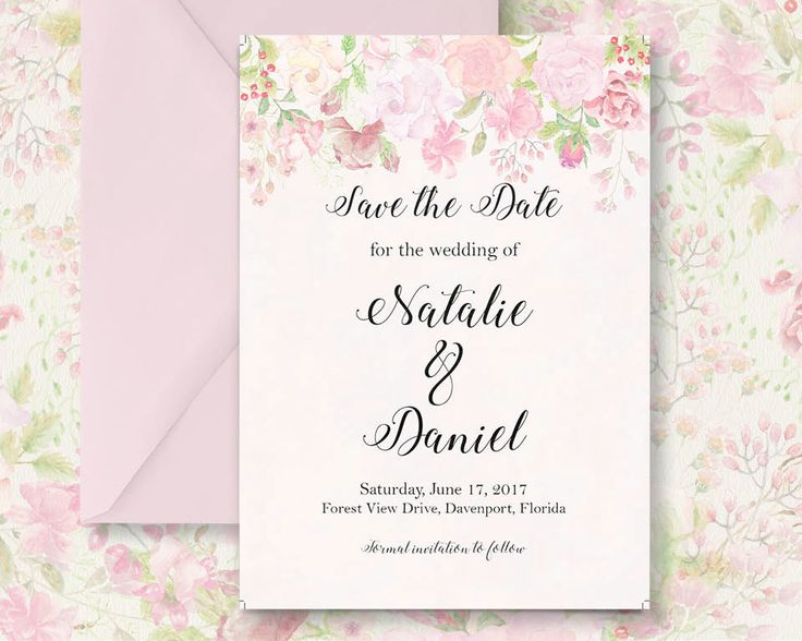 Save the Date; hand painted watercolor blush roses; DIY print; includes custom text; printable wedding stationery by LollysLaneShoppe on Etsy