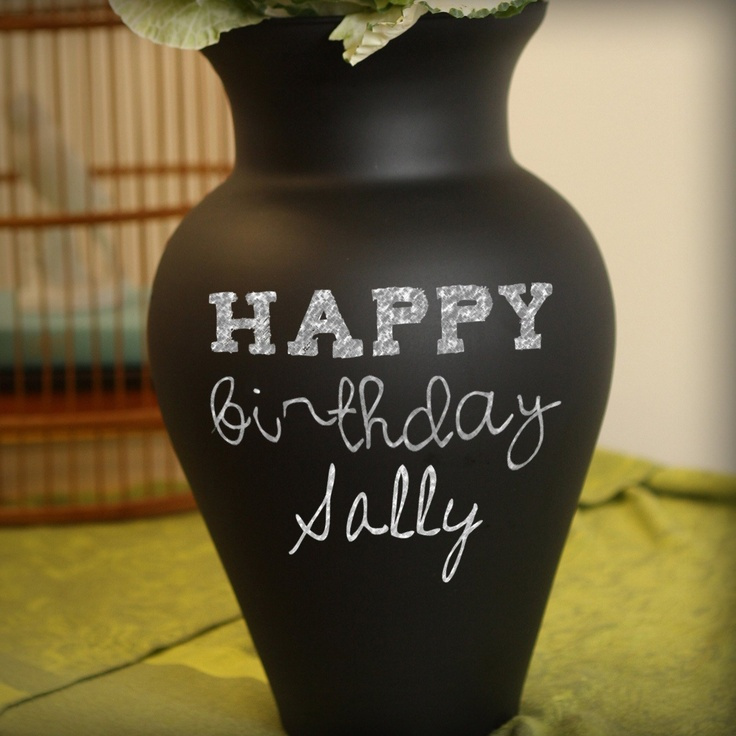 13 in. Chalkboard Vase. Pretty clever | The Foundary