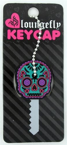 Loungefly Turquoise Purple Day of the Dead Sugar Skull Key Cap Cover Rubber