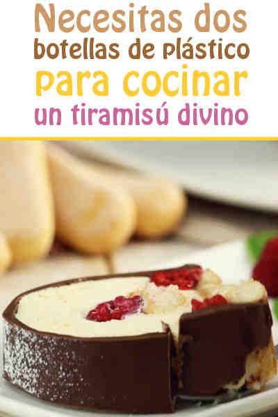 Necesitas dos botellas de plástico para cocinar un tiramisú divino  #tiramisu #botella #receta #fresa