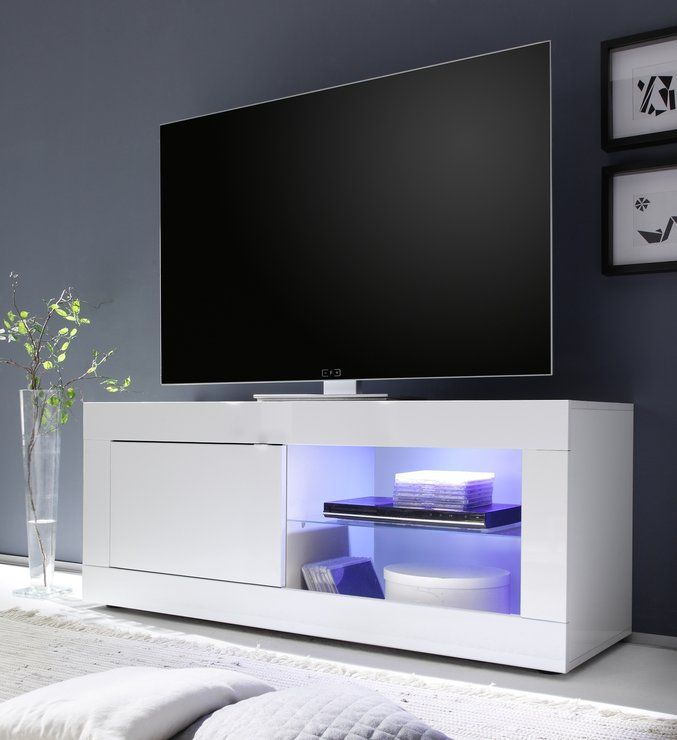Urbino Collection Small TV Unit INCLUDING LED Spot Light  High Gloss White  TV u0026