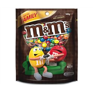 A box of 12 M&Ms Milk Chocolate Bags 345g.