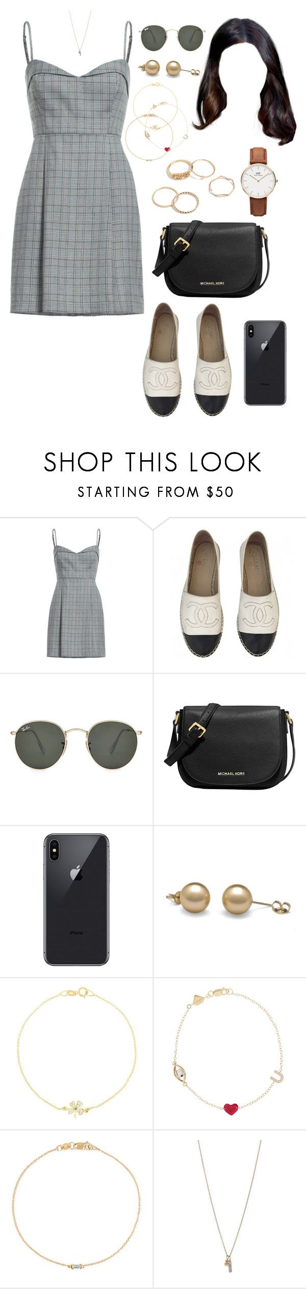 """""""LOS (day/out/OJF)"""" by ittgirl ❤ liked on Polyvore featuring Chanel, Ray-Ban, MICHAEL Michael Kors, Jennifer Meyer Jewelry, Alison Lou, Ileana Makri, Minor Obsessions and Daniel Wellington"""