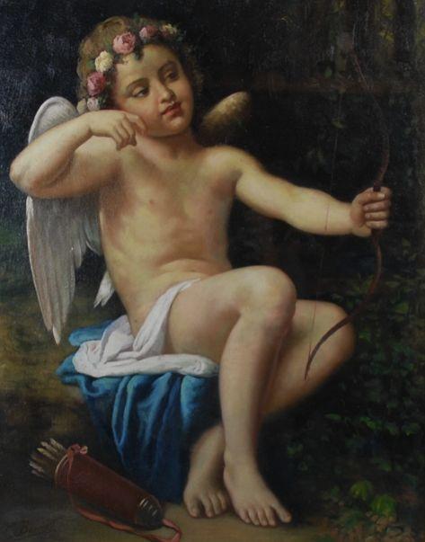Quadro pintado a oleo, Cupido, assinado, 74cm X 58,5cm, 5,300 reais / 1,740 euros / 2,330 usd https://www.facebook.com/SoulCariocaAntiques?ref=hl