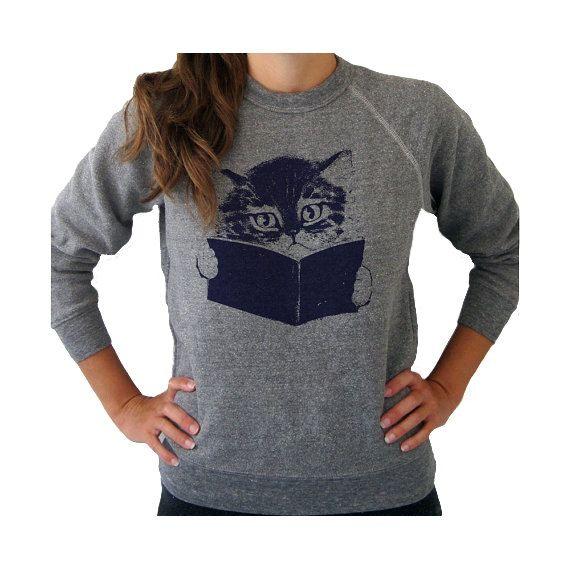 Kitty sweater ecofriendly fleece gray by kinshippress on Etsy, $40.00