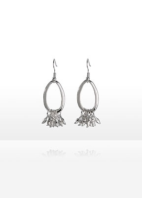 PERSONAL ACCENTS® Lorelei Earrings  Item #: 748430   As a graceful nod to the planet, delicate silvertone leaves gently dangle from the oval hoop earrings From the Embrace the Earth collection, designed exclusively for Personal Accents by Cynthia Gale. All pieces are fashioned from recycled metals in an antique silvertone finish.