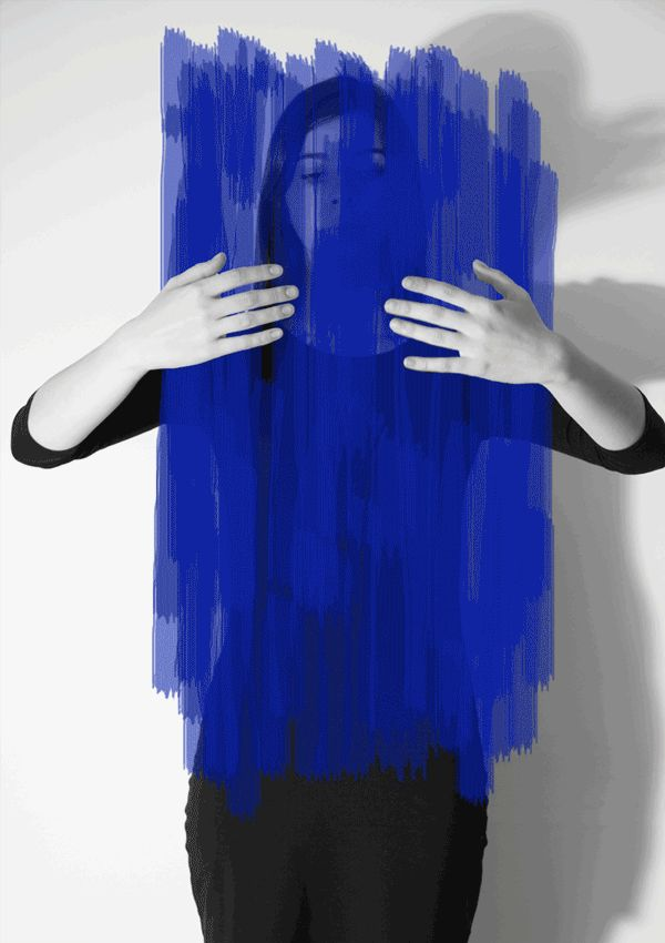 """Photographic project based on Helena Almeida work (photos painted with blue ink) and one serie is based also on Jeff Wall photo """"Double Self""""."""