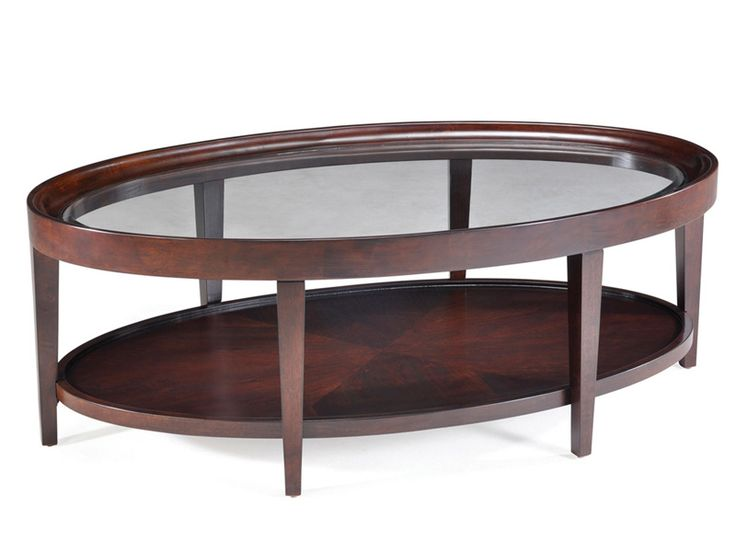 Leather Sleeper Sofa NEW Magnussen Carson Sienna Finish Wood Oval Cocktail Table