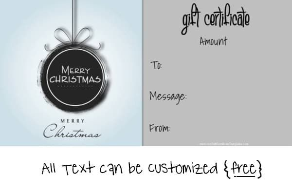 Free Printable Christmas Gift Certificate Template In Black And White