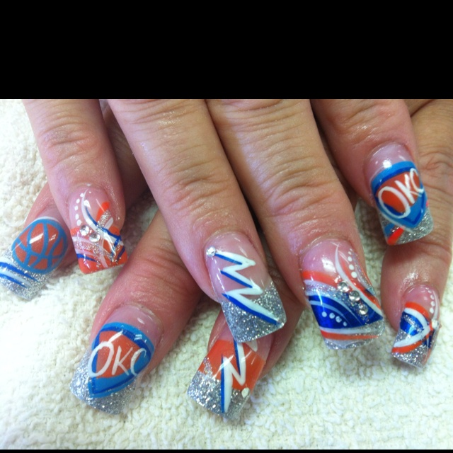 40 best nails thunder images on pinterest thunder nail art okc thunder nail design with the basketball prinsesfo Image collections