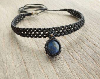 Macrame collar de lapislázuli / Macrame joyas / por CTheSoulOfMoon