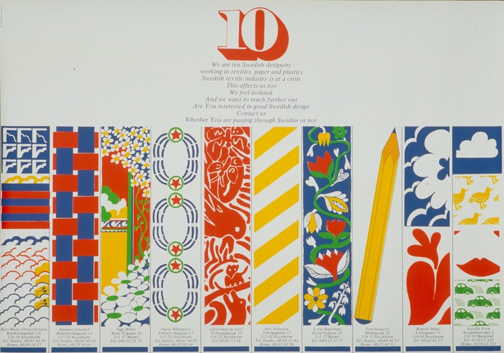 10-gruppens poster from 1970, showing the first collection.