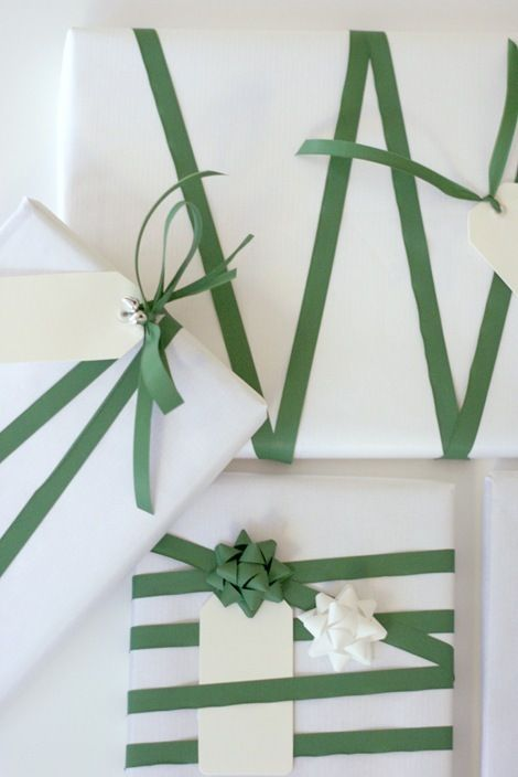 This green ribbon reminds me of florist tape...might have to see how that works for gift wrapping??