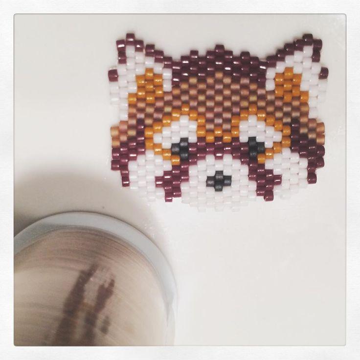 Panda roux d'après @beading_louison #miyuki #beadinglouison #beading #jenfiledesperlesetjassume #pandaroux #firefox #redpanda