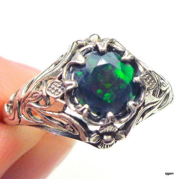 SZ 10 ópalo negro de Welo anillo de plata esterlina anillo