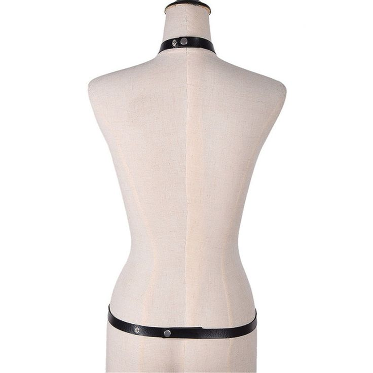 Women Sexy Black Body Harness Synthetic Leather Adjustable Suspenders
