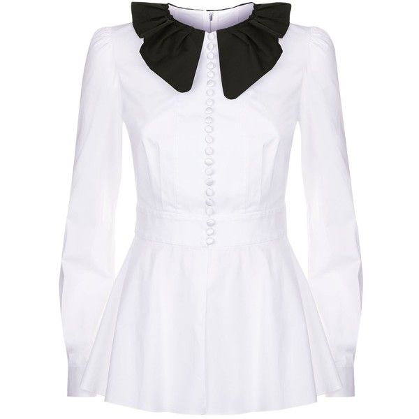 Dolce & Gabbana Contrast Collar Shirt ($955) ❤ liked on Polyvore featuring tops, peplum shirt, oversized button-down shirts, contrast-collar shirts, satin shirt and oversized shirts