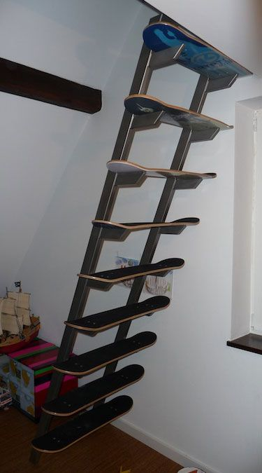 Skateboard Deck Staircase - Boy's room for sure!