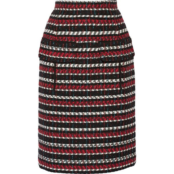 Oscar de la Renta - Wool And Cotton-blend Skirt ($491) ❤ liked on Polyvore featuring skirts, red, oscar de la renta, woolen skirt, wool skirts, oscar de la renta skirt and red wool skirt
