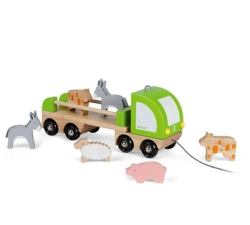 Wooden Multi Truck with Farm Animals  A beautifully crafted and easy to carry pull along and animal set from Janod. This open back truck includes 6 stand alone animals - a Pig, a Sheep, 2 Donkeys and 2 Cows.