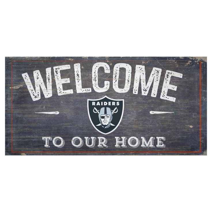 "NFL Oakland Raiders Fan Creations 6""x12"" Welcome Distressed Sign"