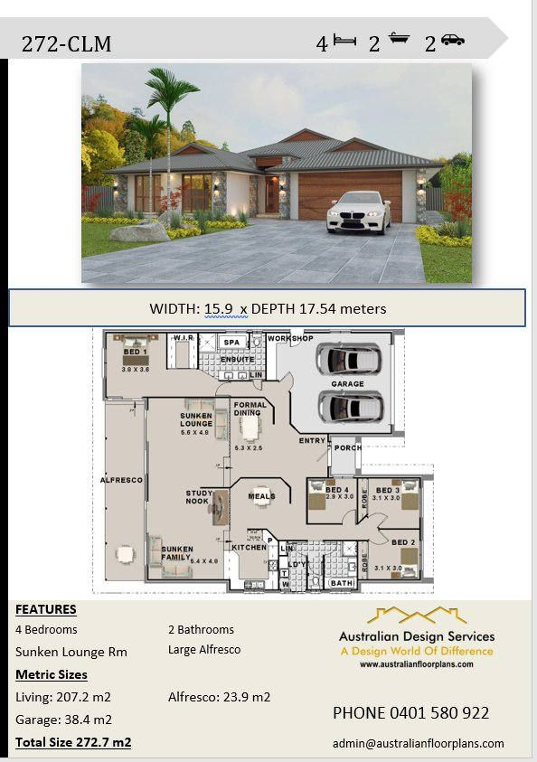 272 m2  4 Bedroom house plans  Double Garage  Home