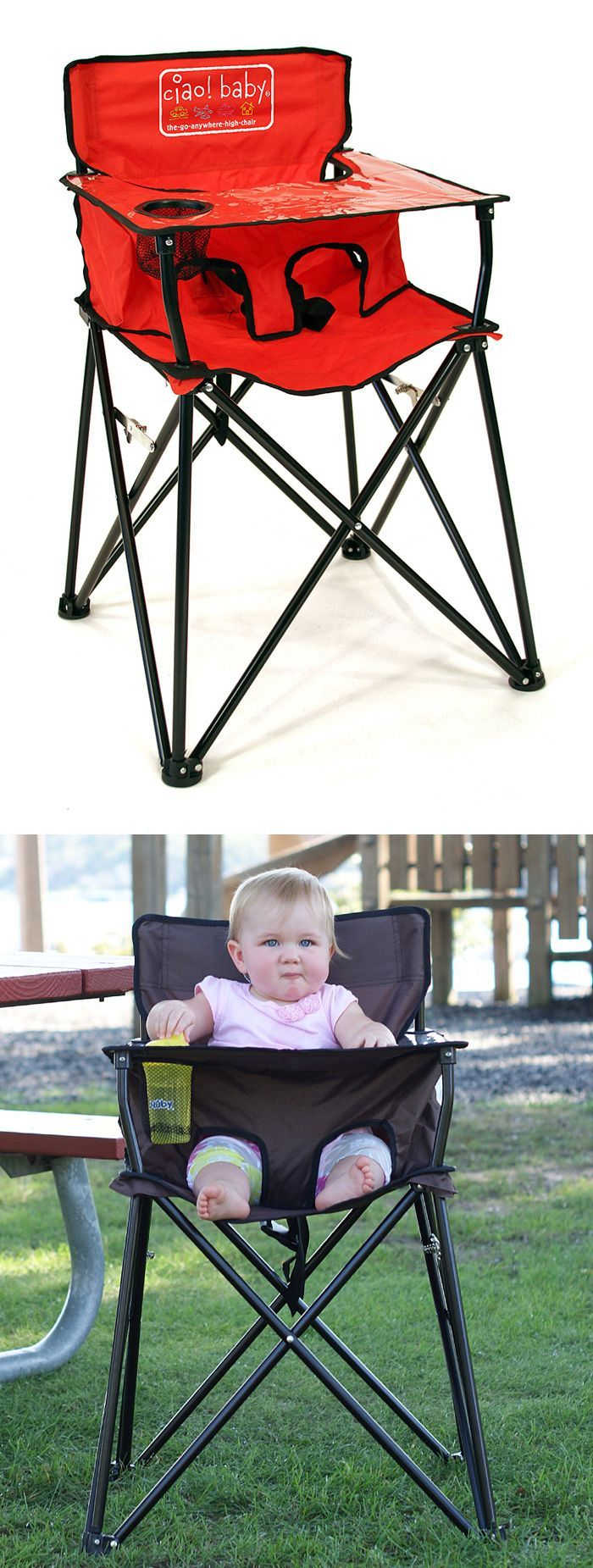 Baby Portable Travel High Chair - Folds up into a carrying bag just like a camp chair! Perfect for the park, camping, restaurants, travel, etc.