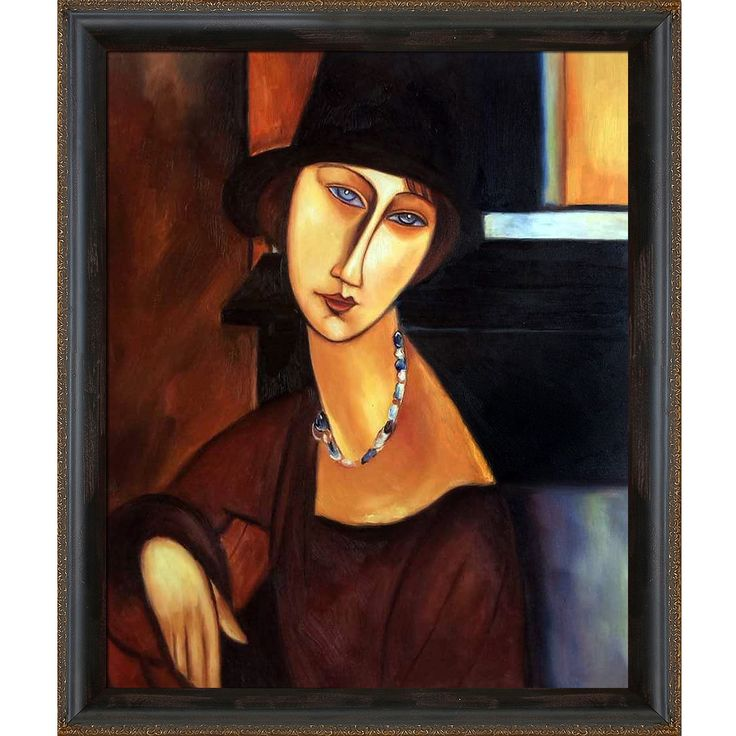 La Pastiche Amedeo Modigliani 'Jeanne Hebuterne with Hat and Necklace' Hand Painted Framed Art
