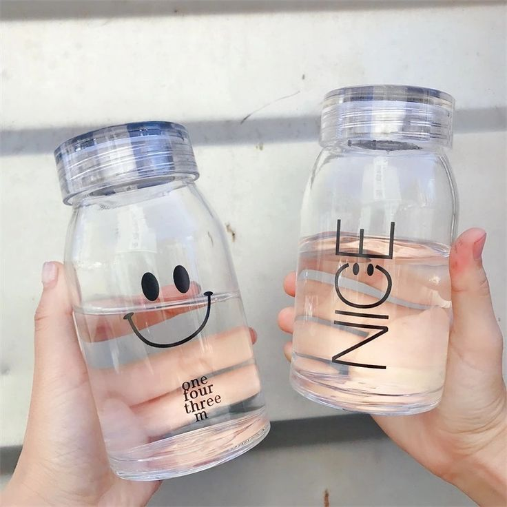 Smile Portable Drinking Water Glass Bottle Juice Sealed Bottle