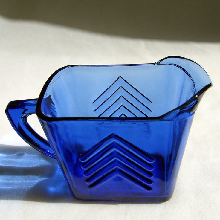 Ritz Blue Depression Glass Chevron Milk Pitcher Hazel Atlas 1930's