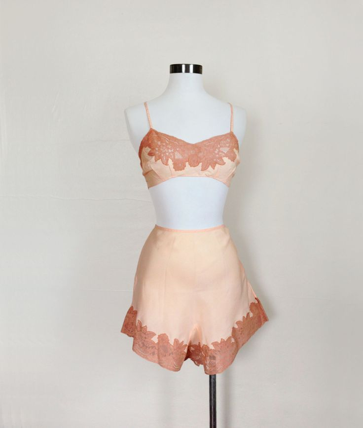 1920s / 1930s Lingerie  Pink Bralette and Tap by GuermantesVintage, $200.00