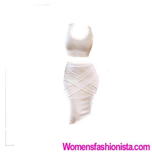 Beyonce Dress Two Piece Sleeveless (S, White)