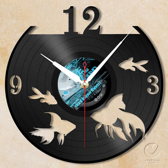 vinyl wall clock - gold fishs