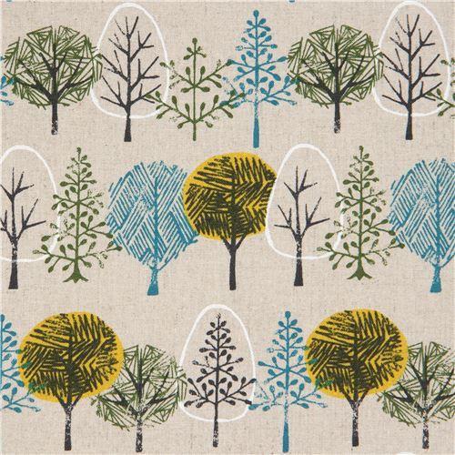Tessuto floreale - tessuto color neutro alberi in tela dal Giappone  - un prodotto unico di modes4u su DaWanda