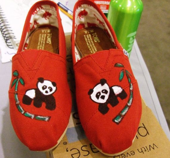 Custom painted TOMS Shoes by BriteEyedBushyTailed on Etsy, $80.00