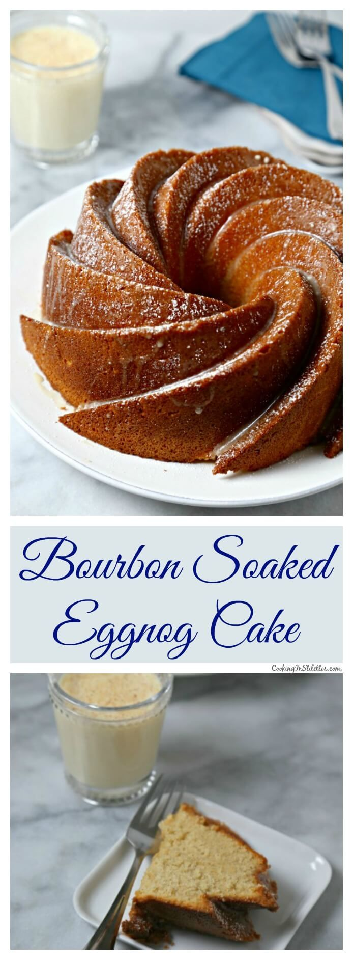 Bourbon Soaked Eggnog Cake from CookingInStilettos.com is a dessert showstopper. A moist rich eggnog cake with hints of spice and bourbon and drizzled with a bourbon eggnog glaze. ~ http://cookinginstilettos.com