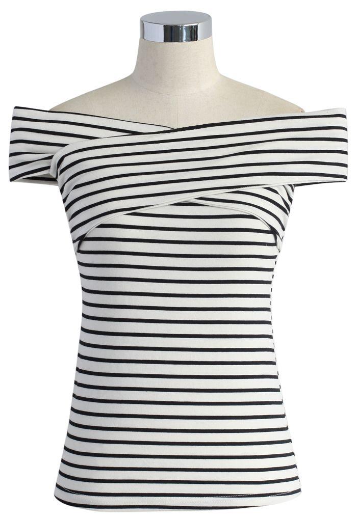 Haut Rayé avec Epaules Enveloppées Dénudées - Short Sleeve - Tops - Retro, Indie and Unique Fashion