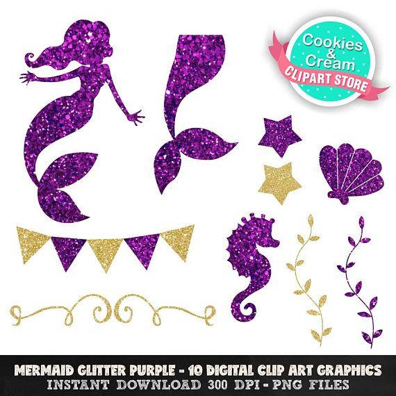 Gold And Purple Beautiful Ocean Mermaid Clip Art Cute Mermaid Theme Party Tween Girl Party Ideas Mermaid Cake Topper