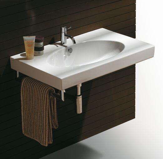LFT44 | LFT spazio Ceramica Simas Rectangular wall hung console 80 pre-punched for single tap hole.