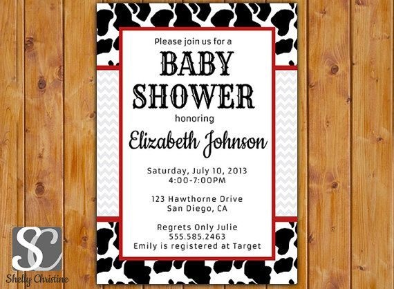 Cow Print Baby Shower Invitation Black White Red Invitation Cow Print Invitation Printable Shower Invitation Be Not Moved Church Event (51) on Etsy, $16.00